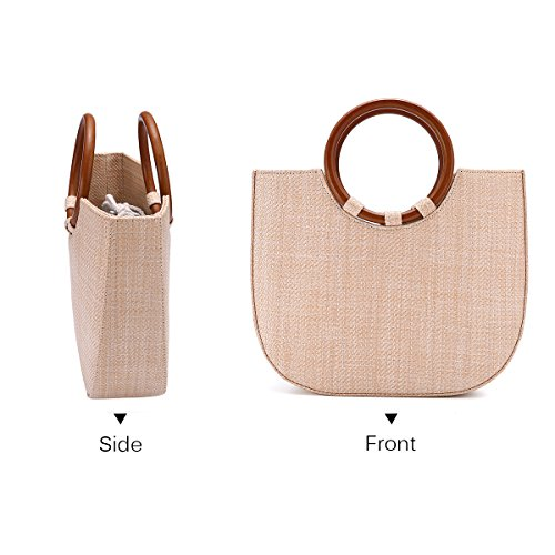 Everyday Beach Khaki Use Summer Bag Straw and Shoulder Womens Travel Straw Bag Handbag for Beach JOSEKO FxOx4dT