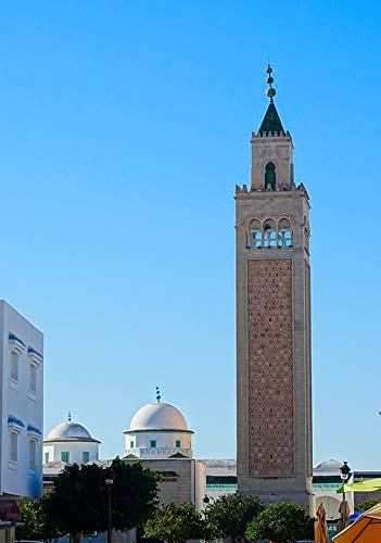 Home Comforts Peel-n-Stick Poster of Architecture Minaret Tunis Tunisia Dome Mosque Vivid Imagery Poster 24 x 16 Adhesive Sticker Poster Print