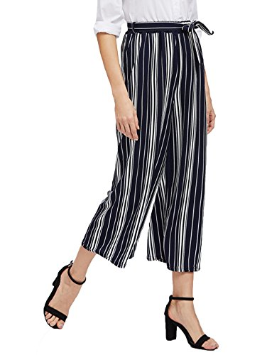 MakeMeChic Women's Striped Belted Wide Leg Cropped Palazzo Pants one-size Black1 (Capri Cropped Tie)