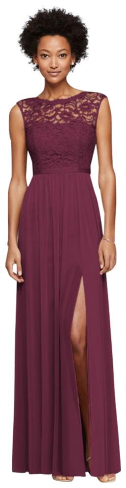 David's Bridal Long Bridesmaid Dress with Lace Bodice Style F19328, Wine, 4