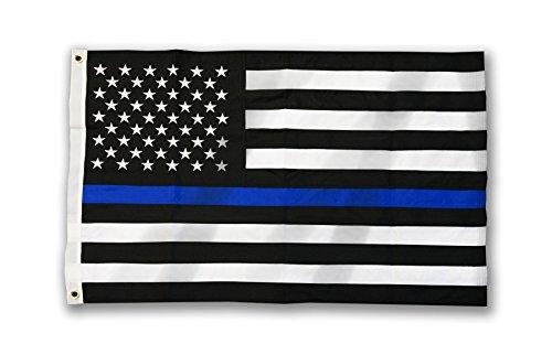 Thin Blue Line American Flag, Sewn & Embroidered (2 x 3 Feet, Thin Blue Line)