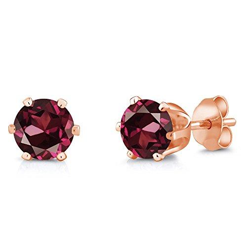 - Gem Stone King 2.00 Ct 6mm Red Rhodolite Garnet Brass Rose Gold Plated Brass Stud Earrings