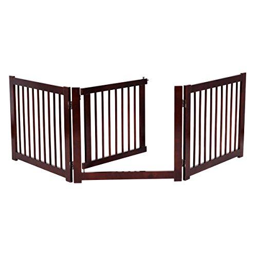 Wooden Dog Gate Foldable 3 Panels with Door, Pet Gate Freestanding for House Doorway Stairs, Pet Safety Fence – Small, Medium Sized Pets