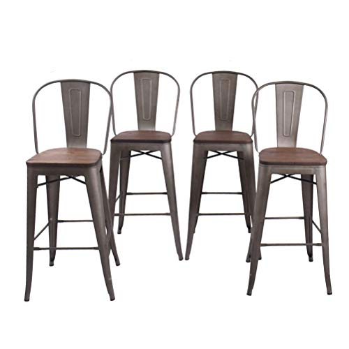 30 Inch High Back Industrial Metal Bar Stool Kitchen Counter Bar Stools Set of 4 ¡­ (30 inch, High Back Rusty Wooden)