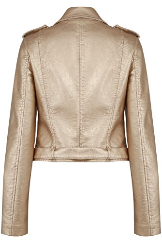 GG Cuir Faux Zip Nouvelles Biker Manteau Or Veste Ladies Femmes Crop SUwr4txS