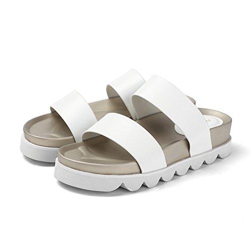Zapatos de confort de verano/zapatilla de una palabra/Zapatillas de playa/Sandalias de las mujeres de color sólido blanco