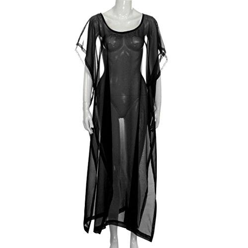 Price comparison product image BCDshop Women Long Bikini Cover up Sexy See Through Bathing Swim Suit Swimwear Coverup Dress Loose Beachwear Beach Dress (Black,  XL)