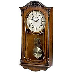 Bulova C3542 Cranbrook Chiming Clock, Walnut Finish, (Renewed)