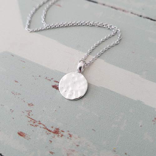 Sterling Silver Disc Necklace,Hammered Circle Necklace,Simple Layered Necklace ()