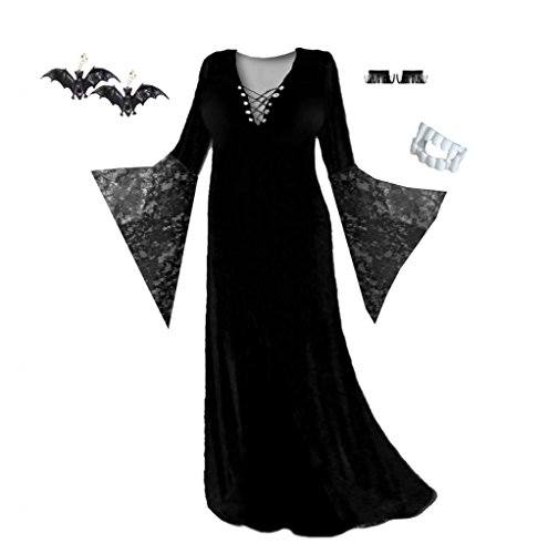 Lace Morticia Costume (Sanctuarie Designs Womens Black Vampiress Blk Lace /ECONOMY/ Plus Size Supersize Halloween Kit/2x/./)