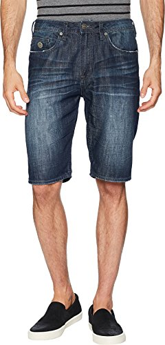 Crinkle Leather Belt - Buffalo David Bitton Men's Dean Straight Fit Shorts Bleached and Veined 38 11.5