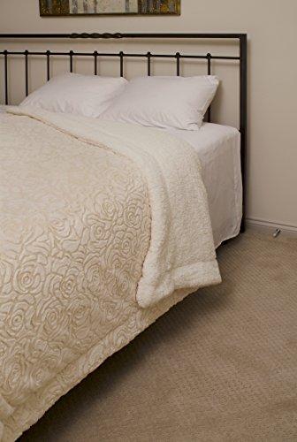 [Regal Comfort Sherpa Luxury Throw Rose Print (Beige, Queen)] (Regal Rose Print)