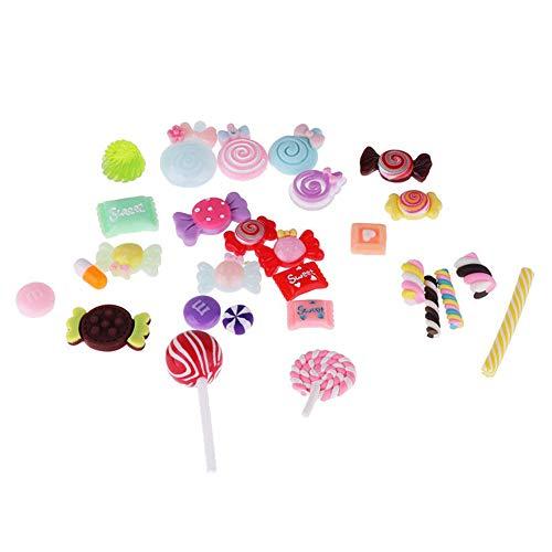 (Adealink 30Pcs/Set Slime Beads Candy Flatbacks Resin Flat Back Scrapbooking Charms DIY Accessories)