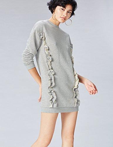 FIND Sudadera Oversized con Volantes para Mujer Gris (Grey Marl)
