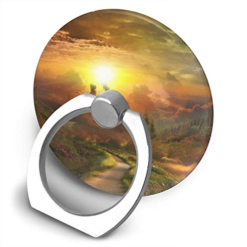 Round Finger Ring Cell Phone Holder Mountains Scenery 360 Degree Rotating Stand Grip Mounts
