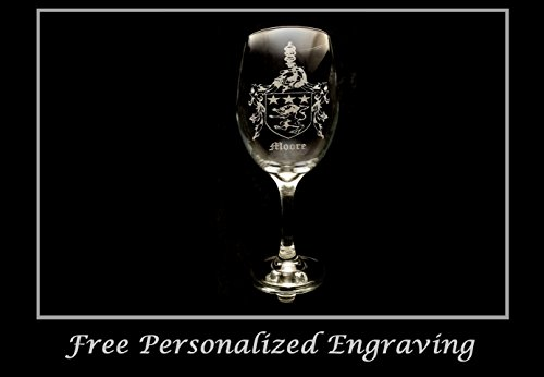 Cheap Moore Family Irish Coat of Arms Clear Wine Glass 18oz – Free Personalized Engraving, Large Wine Glass, Celtic Decor, Irish Wedding