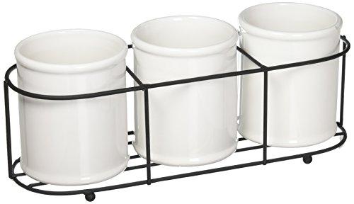Creative Co-Op Set of 3 White Ceramic Crocks in Black Metal Holder (Flatware Ceramic)
