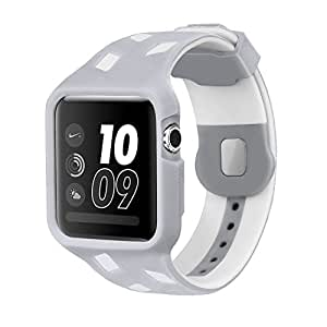 Apple Watch Band 42mm With Protective Case,Soft TPU Iwatch Sport Strap Replacement Wrist Bands For Apple Watch Series 3 2 1, Nike+, Sport & Edition( Silver / White )