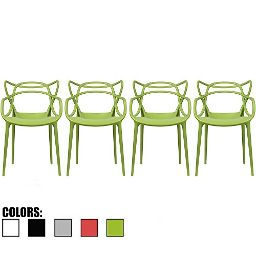 2xhome Set of 4 Green Stackable Contemporary Modern Designer Plastic Chairs With Arms Open Back Armchairs for Kitchen Dining Chair Outdoor Patio Bedroom Accent Patio Balcony Office Work Garden Home