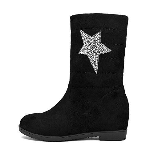 AllhqFashion Mujeres Sin cordones Cuña Sólido Caña Media Botas con Diamante de Imitación Negro