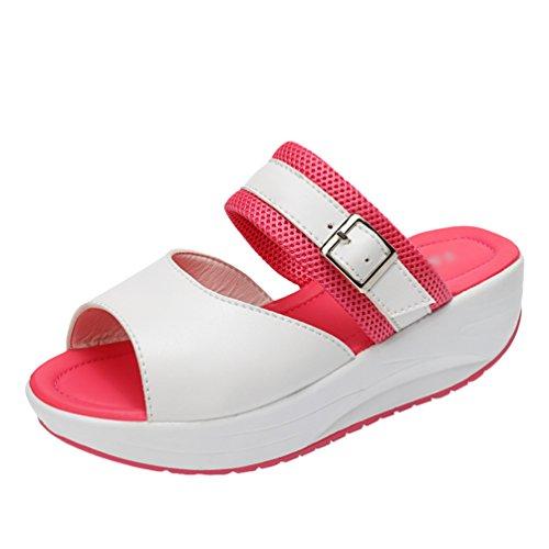 Slip On Faux Summer Slipper Rose Women Walking LINNUO Peep Shoes Heel Leather Driving Toe Platform Bottom Sneakers Thick Wedge agXtgUqYwx