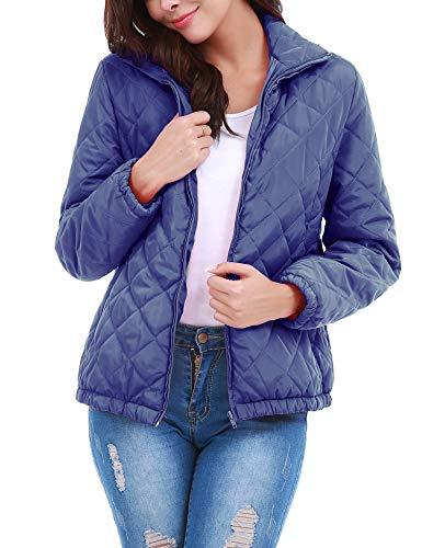 Uniboutique Women Winter Quilted Jackets Packable Ultra Light Weight Down Jacket Puffer Coat Light Blue XL