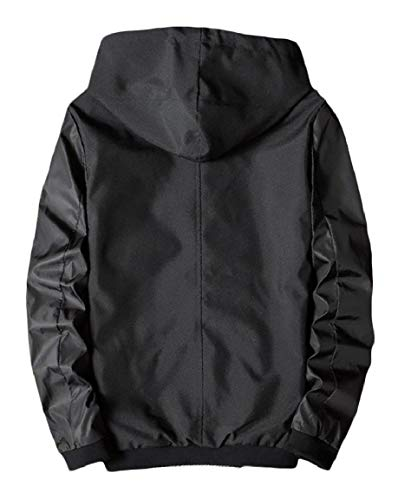 Silm Men's Hooded Outwear Spring Zipper Jackets Windbreaker Fit Casual Fall Black Mogogo xfI4Cwq4