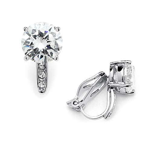 (Mariell 2.0 Ct. Clip-On CZ Solitaire Stud Earrings (8mm) with Pave Accents - Genuine Platinum Plated)