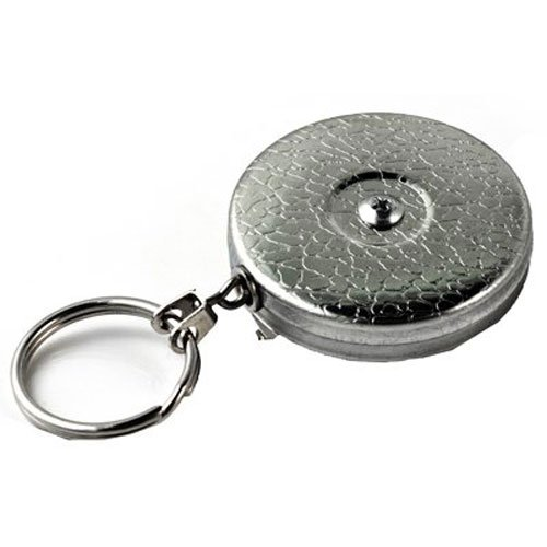 Retractable Chain Chrome Plated (KEY-BAK Original Series Retractable Reel with 24 Inch Stainless Steel Chain, Chrome Front, Steel Belt Clip, 8 oz. Retraction Force, Split)
