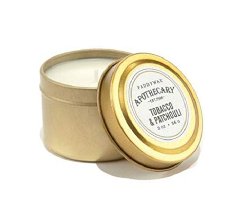 Paddywax Candles Apothecary Collection Soy Wax Blend Candle in Travel Tin, Small, 2 Ounce, Tobacco & Patchouli