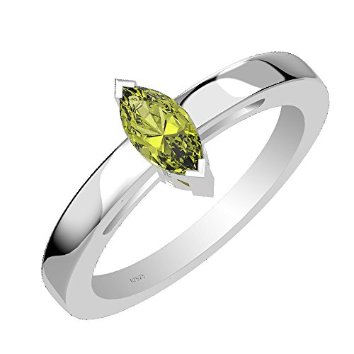 0.65ctw,Genuine Peridot 4x8mm Marquise & Solid .925 Sterling Silver One Stone Ring (Size-10)