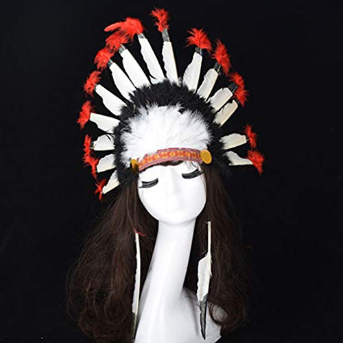 Wall of Dragon Hot Halloween Carnival Day Colorful Party Hats Headband Indian Style Headwear Villus Chiefs Cap Party Headdress by Wall of Dragon
