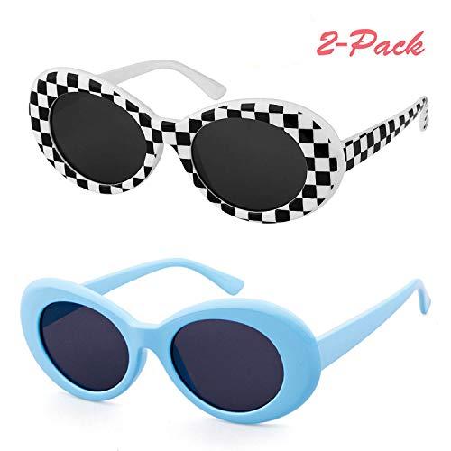 5eb856f2915 QIFANDI UV400 Clout Goggles Bold Retro Oval Mod Thick Frame Sunglasses