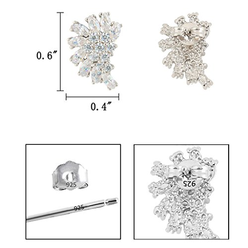 EleQueen 925 Sterling Silver Full Prong Cubic Zirconia Marquise Angel Wing Bridal Stud Earrings