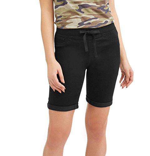 No Boundaries Juniors' Pull-On Denim Bermuda Shorts (2XL, Black Rinse)
