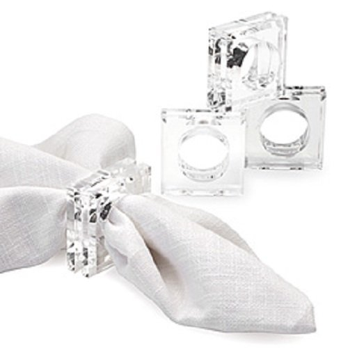 Lucite Plastic Ring - Acrylic Lucite Set of 4 Square Beveled Napkin Rings by Sparkle