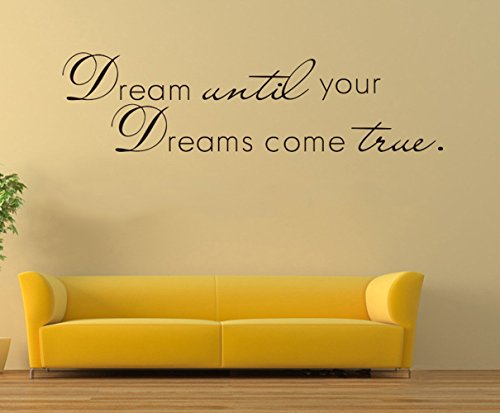 CUGBO Dream Until Your Dreams Come True Wall Sticker inspirational wall Decal Quotes Black Vinyl Home Office Decor Art 11