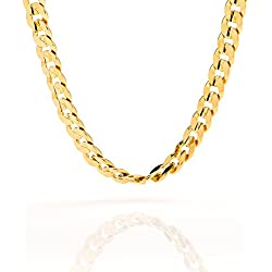 Gold Cuban Link Chain, 6MM, Diamond Cut, Premium Fashion Jewelry Necklace, 24K Overlay, Resists Tarnishing, GUARANTEED FOR LIFE, 24 inches