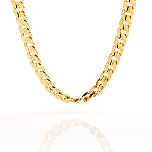 [Best Cuban Link Chain 6MM Diamond Cut Fashion Jewelry Necklaces Made of Real 24K Gold on Semi-Precious Metals, 100% FREE LIFETIME REPLACEMENT GUARANTEE, 20] (Hip Hop Group Costumes)