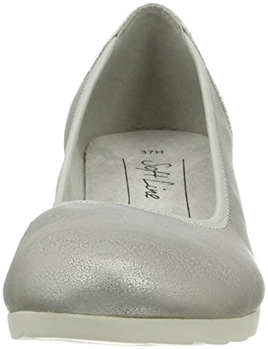 Softline 8-8-22363-28, Zapatos de Cuñas Mujer Plateado (White/Silver 191)