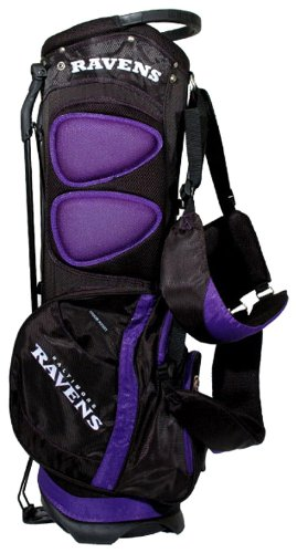 Team Golf NFL Baltimore Ravens Fairway Golf Stand Bag, Lightweight, 14-way Top, Spring Action Stand, Insulated Cooler Pocket, Padded Strap, Umbrella Holder & Removable Rain Hood