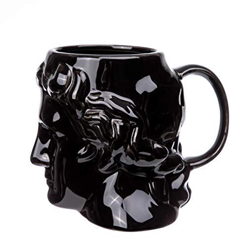 FLY SPRAY Greek Roman Statue Coffee Mug Ceramic Novelty Sculptured Portrait Shaped Creative Art Mug Large Capacity Unique Exquisite Drinks Cup for Juice Milk Or Tea 21 oz Black