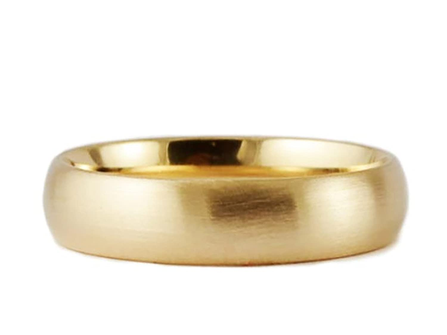 Men's & Women's 14k Yellow Gold Brushed 6mm COMFORT FIT WEDDING BAND |  Amazon.com