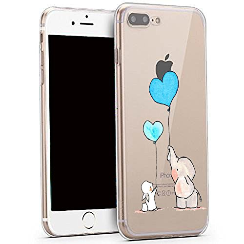 Bunny Skin Case - iPhone 8 Plus Case ,iPhone 7 Plus Case, Cute Animal Design Slim Fit Soft TPU Protective Cover with Funny Pattern Thin Clear Skin Gift Novelty Bumper Back Case for 8 Plus / 7 Plus,Bunny Elephant Ball