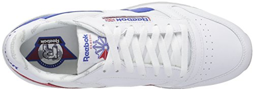 Reebok Hommes Cl Cuir Si Fashion Sneaker Blanc / Vital Bleu / Rouge Primal / Lgh Solide Gris