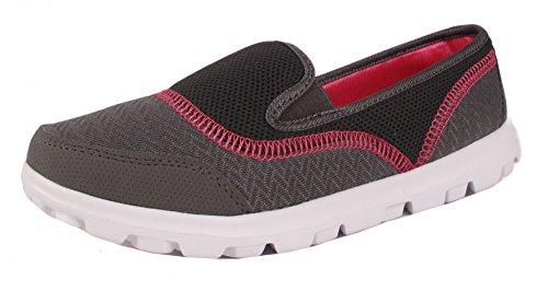 Walking Sportschuhe Comfort Damen Gehen 3 EU 38 5 Trainer 8 UK Ftiness Mesh Slip Grau On Damen Fuchsia Schuhe vYpwv