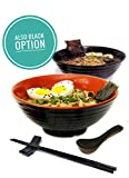 2 set (8 piece) Ramen Bowl Set, Asian Japanese soup with Spoons Chopsticks and Stands, Restaurant Quality Melamine, Large 32 oz for Noodles, Pho, Noodle, Udon, Thai, Chinese dinnerware