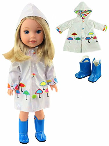 American Fashion World White Raincoat with Electric Blue Rain Boots Fits 14