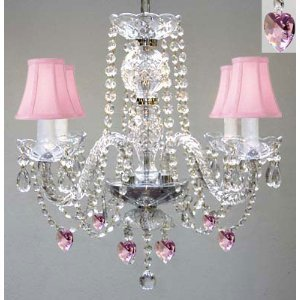 CHANDELIER LIGHTING W/ CRYSTAL PINK SHADES & HEARTS! H 17″ – PERFECT FOR KID'S AND GIRLS BEDROOM! W 17″