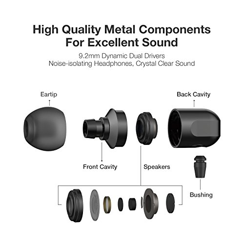 Earbuds, GGMM Headphones with Microphone Full Metal Headphones Earbuds Heavy Deep Bass Earphones Ear Buds, In Ear Headphones for iPhone Android Phone iPad Tablet Laptop by GGMM (Image #2)
